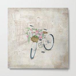 Vintage bicycles with roses basket Metal Print