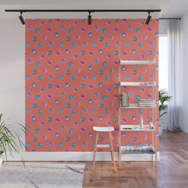 Living coral watercolor blue turquoise and violet polka dot pattern Wall Mural