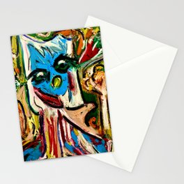 Blue Weird Abstract Man Stationery Cards
