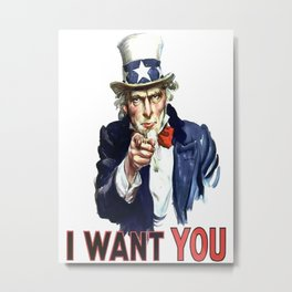 Uncle Sam I Want You Metal Print