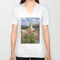 cuba V-neck T-shirts featuring Trinidad, Cuba by Parrish