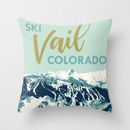 Vail Ski Light Blue Throw Pillow