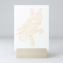 2 headed crow tattoo linework art Mini Art Print