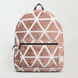Geometric faux rose gold foil triangles pattern Backpack