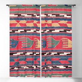 Southwestern Nomad III // 18th Century Colorful Red Blue Green Yellow Shapes and Bands Pattern Blackout Curtain
