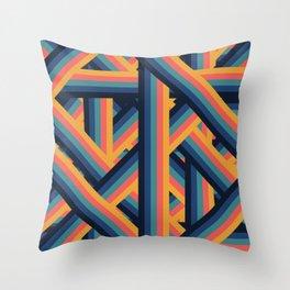 Retro Stripes Lattice Layers Throw Pillow