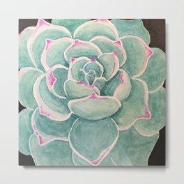 Succulent Watercolor Metal Print