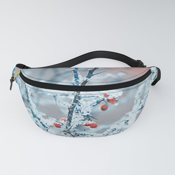 Snowy twigs and berries Fanny Pack