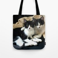 kittens Tote Bags featuring Kittens by greenelent