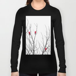 Artistic Bright Red Birds on Tree Branches Long Sleeve T-shirt