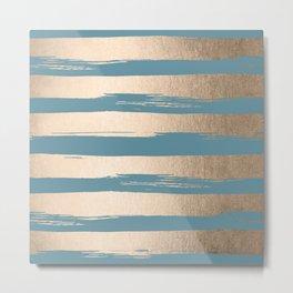 Painted Stripes Gold Tropical Ocean Blue Metal Print