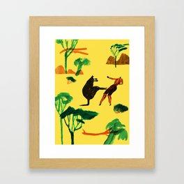 Who will win...Man or Kangaroo? Framed Art Print