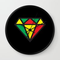 reggae Wall Clocks featuring Reggae Diamond by Grime Lab