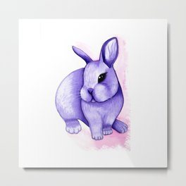 Watercolor lilac rabbit Metal Print