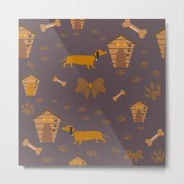 Seamless Dog Paw Pattern Metal Print