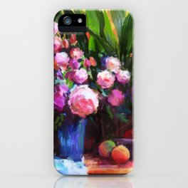 Roses and Aspidistra Plant iPhone Case