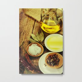 Olive Oil and Spices on wooden table Metal Print