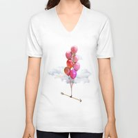 balloons V-neck T-shirts featuring Balloons by Syac