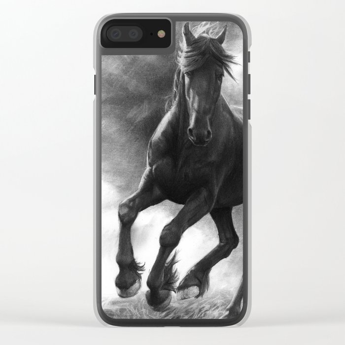 Horse in Storm - GRAPHITE DRAWING Clear iPhone Case