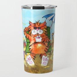 Cat at the Beach Travel Mug