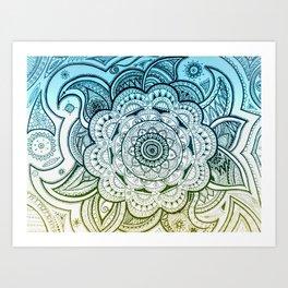 Mandala Blue Yellow Art Print