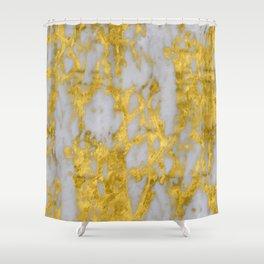 Luxury 24-Karat Gold Marble on Velvet Cream Shower Curtain