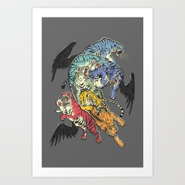 Seven Caged Tigers Art Print