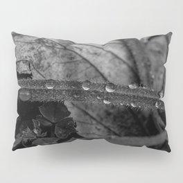 Black and white raindrops on grass Pillow Sham