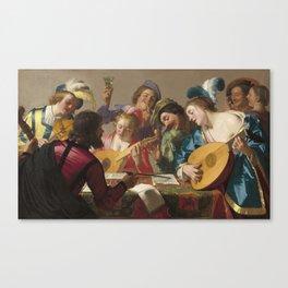 Gerard Van Honthorst - Shepherd Playing The Flute  And Four Shepherdesses Canvas Print