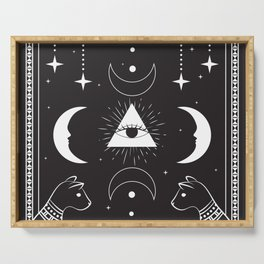 Cat Witchcraft All Seeing Eye Moons - Black Serving Tray