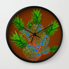 ABSTRACT COFFEE BROWN TROPICAL PINEAPPLES DESIGN Wall Clock