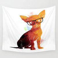chihuahua Wall Tapestries featuring Hipster chihuahua by FodorB
