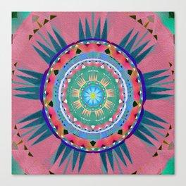 Aztec Neo Tribal Ancient Soul Sun Boho Oil Painted Mandala Canvas Print