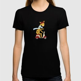 Giraffe on Motor Scooter T-shirt