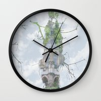 castle in the sky Wall Clocks featuring castle in the sky by Phil Hill