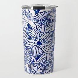 Hand painted royal blue white watercolor floral illustration Travel Mug