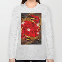 RED BLOODY HIBISCUS FLOWERS ALLIGATORS GOLD ART Long Sleeve T-shirt