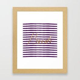 Bride & Stripes - Gold / Dark Plum Framed Art Print