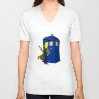 lemongrab V-neck T-shirts featuring Doctor Lemongrab  by MUSENYO