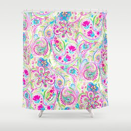 Paisley Watercolor Brights Shower Curtain