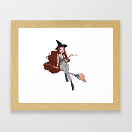 Witch on a broom Framed Art Print