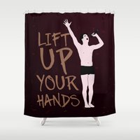 hedwig Shower Curtains featuring Hedwig: Lift Up Your Hands! by byebyesally