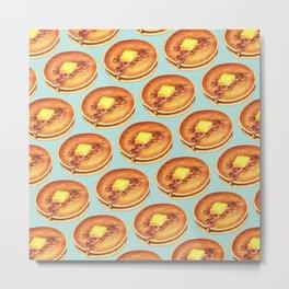 Pancakes Pattern - Blue Metal Print
