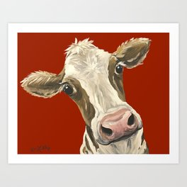 Cute Cow Painting, Red Cow Painting Art Print