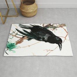 raven, raven crow artwork black brown Rug