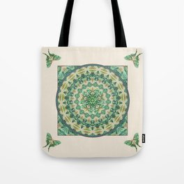 Luna Moth Meditation Mandala Tote Bag