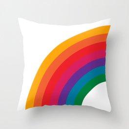 Retro Bright Rainbow - Left Side Throw Pillow