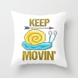 Keep moving, pixel snail Throw Pillow
