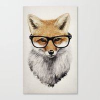 glasses Canvas Prints featuring Mr. Fox by Isaiah K. Stephens