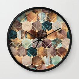 Natural Hexagons And Diamonds Wall Clock